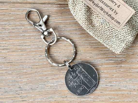 1961 Italian 100 Lire coin key ring or clip, a thoughtful 60th birthday gift or anniversary present