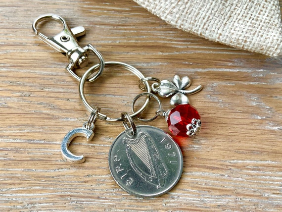 Irish Birthstone charm clip, 1971 coin keyring or bag clip, choice of initial and birthstone colour, 49th birthday gift woman