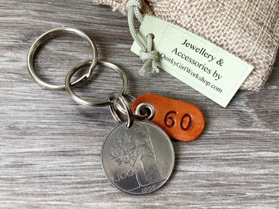 60th birthday gift, 1959 italian coin key ring, 100 lire key fob, Italy keyring, Anniversary present for him, her man or woman