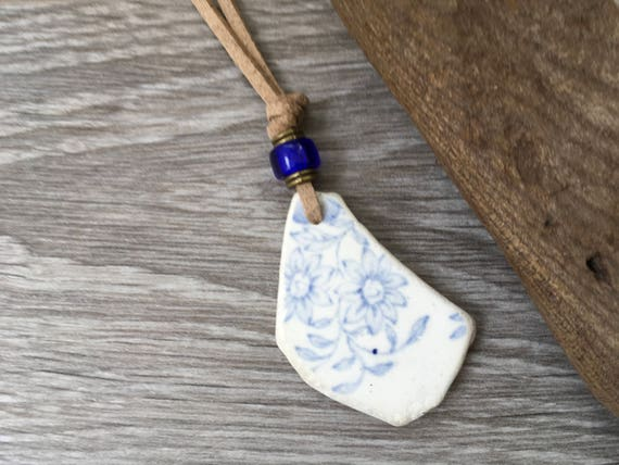 Naturally sea washed china necklace, surf tumbled ceramic pendant,  recycled China necklace. Ocean pendant, blue pendant. Willow pattern