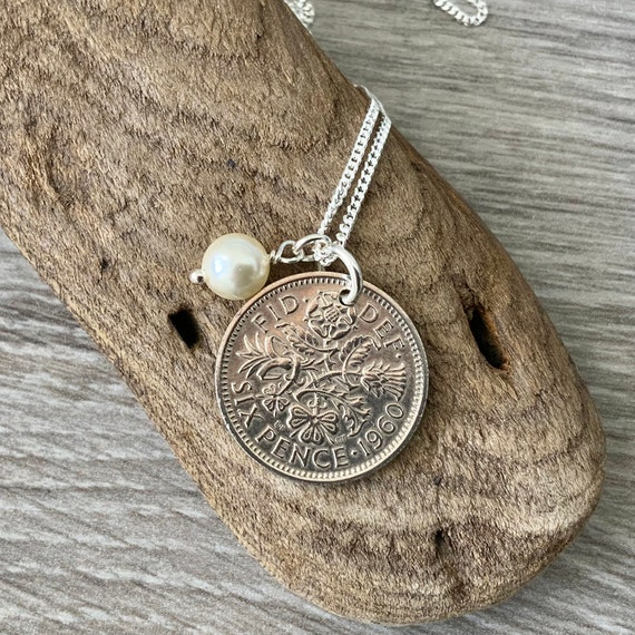 Lucky sixpence birthstone necklace on a sterling silver chain, choose coin year and charm colour for a perfect birthday or anniversary gift