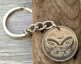 New Zealand 10 cent coin keyring, choose coin year for a perfect Birthday gift or anniversary present