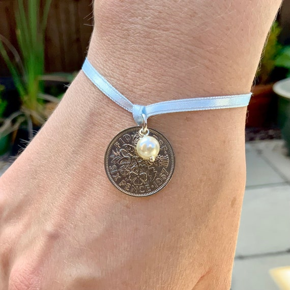 Bridal gift, Something old something new, something borrowed and something blue, lucky sixpence tie bracelet or anklet