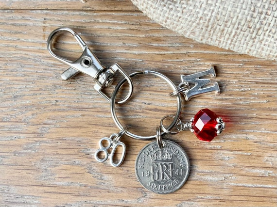80th birthday gift, 1941 silver sixpence birthstone charm, keyring or bag clip, choose initial and birthstone colour