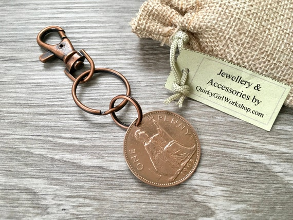 1963, 1964 or 1965 British big penny keyring or clip, choose year for a perfect 54th, 55th or 56th birthday or anniversary gift