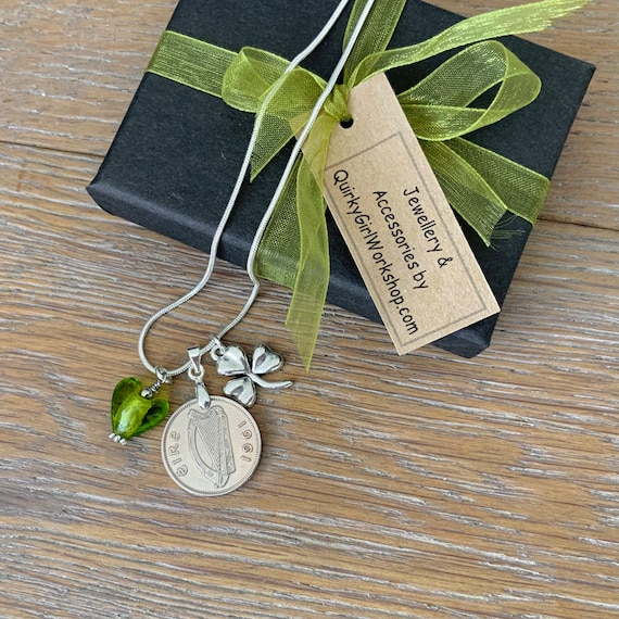 Irish sixpence and shamrock necklace, choose coin year for a perfect birthday present for a woman
