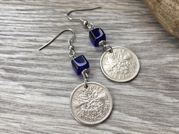 57th or 58th birthday gift, 1961 or 1962 British sixpence earrings English cobalt blue coin Jewelry, anniversary present woman, mum, aunt