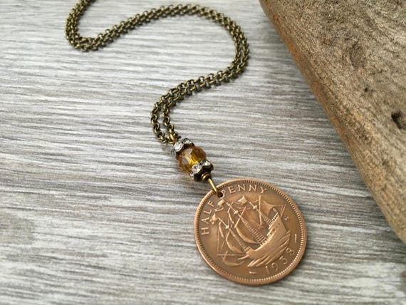 80th birthday gift, English long coin necklace, British half penny pendant, sailing ship, jewelry present for her, grandma, mum, aunt
