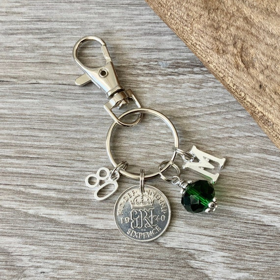 1940 silver sixpence, 80th birthday gift, birthstone charm, keyring or bag clip, choose initial and birthstone colour