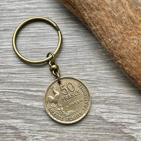 70th birthday gift, 1951 French coin key ring, key chain, 50 franc France, anniversary present