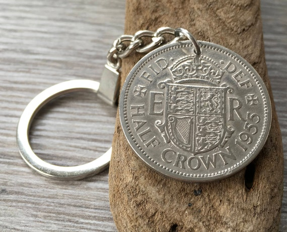 64th Birthday Gift 1955 Keyring Vintage British Coin