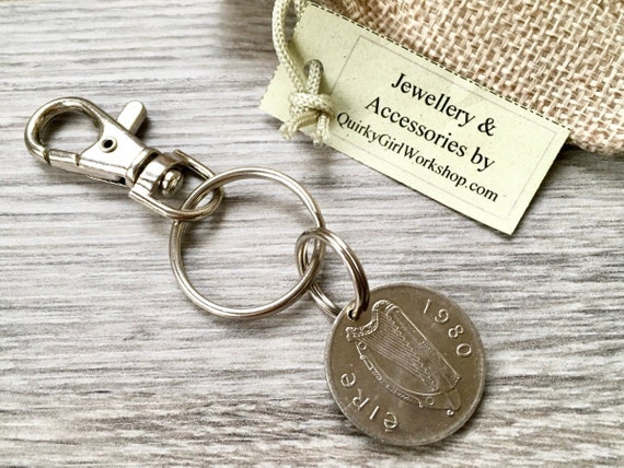 1982 or 1980 Irish coin keyring, Keychain or clip, 38th or 40th Ireland birthday or anniversary gift for a man or woman