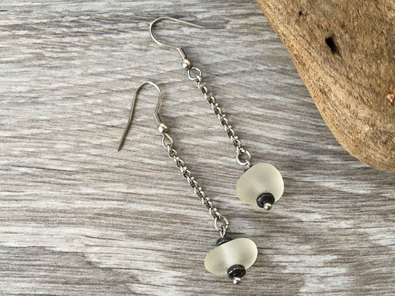 sea glass and hematite earrings, genuine authentic beach glass jewelry, long, dangle, drop, mermaids tears, stylish gift for her, woman