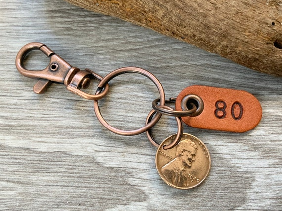 80th birthday gift, 1940 USA coin keychain, American one cent keyring, lucky wheat penny clip