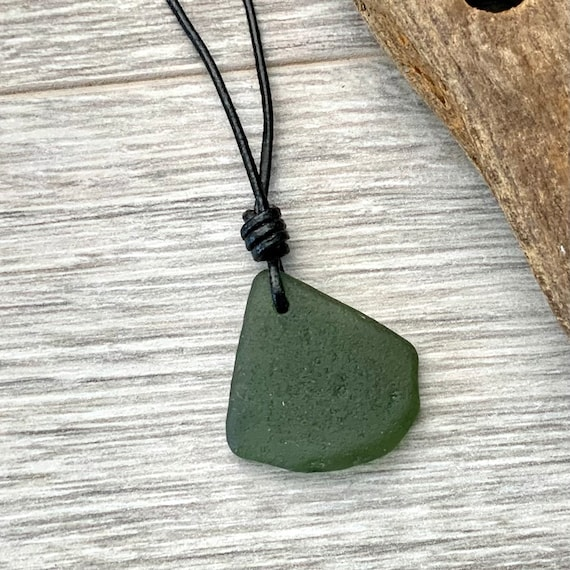 Green sea glass pendant necklace on a black leather adjustable cord, beach glass simple bohemian jewellery,