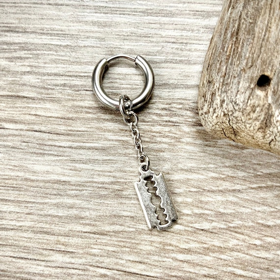 Single Razor blade thick hoop earring, also available as a pair of earrings, stainless steel earring for a man or woman