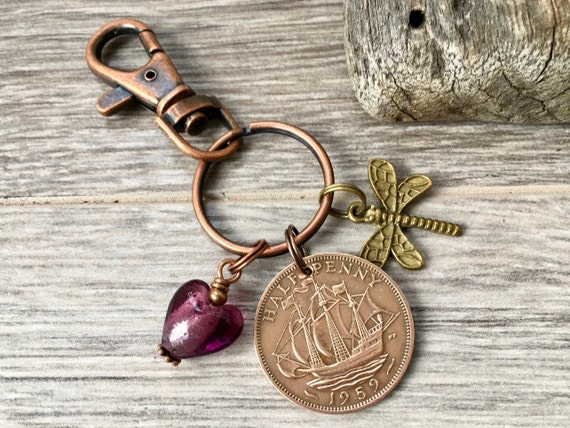 60th birthday gift, 1959 UK coin, handbag charm, purse charm, British half penny keyring, anniversary present for a woman