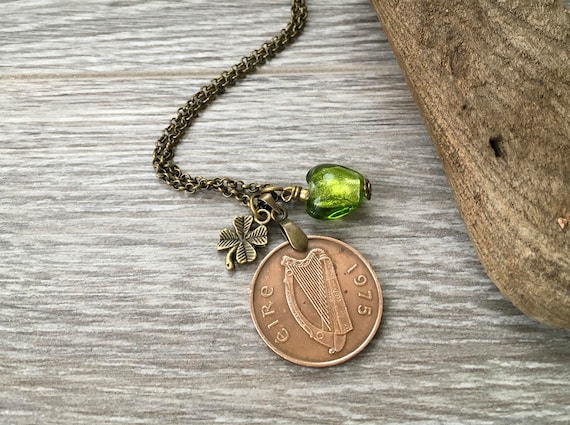 44th birthday gift, 1975 Irish coin necklace, green glass heart charm pendant, Ireland anniversary present for her, woman, wife, girlfriend