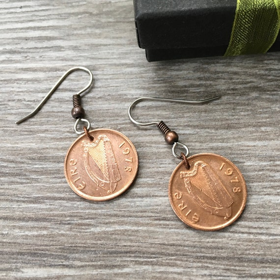 1978 Irish half penny earrings, lucky Celtic coin, Ireland 41st birthday or anniversary gift, Eire present for a woman