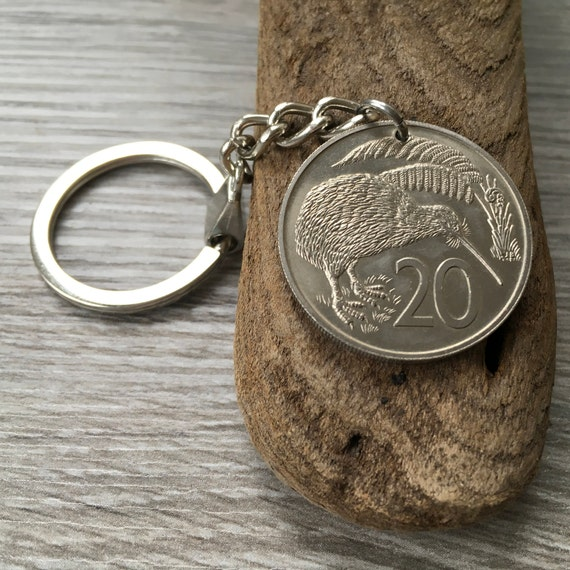 1969 New Zealand 20 cents coin keyring, kiwi, 50th Birthday or Anniversary present for a man or woman