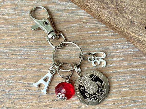 30th birthday Birthstone charm, 1990 British coin keyring or bag clip, choice of initial and birthstone colour, 30th anniversary gift woman
