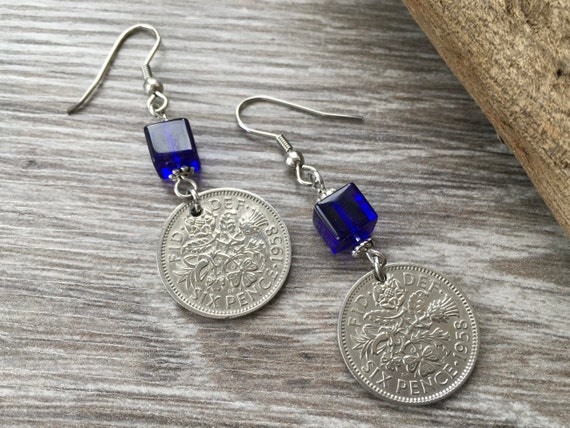 British sixpence and cobalt blue bead dangle earrings, 1958, 1959 or 1960 choose coin year for a birthday or anniversary gift for a woman