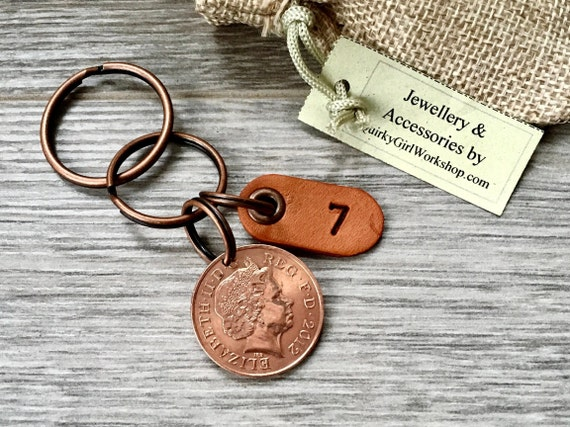 7th anniversary gift, copper wedding anniversary, seven 7 years married, 2012 coin keyring, key chain or clip, present for a man or woman
