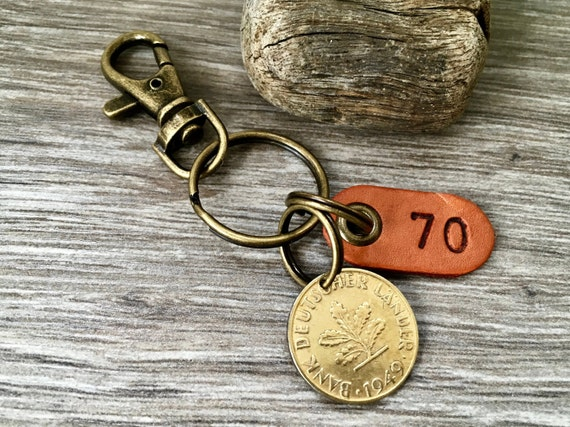 1949 German coin keyring or clip, Germany 10 pfennig keychain, 70th birthday gift for a  man or woman