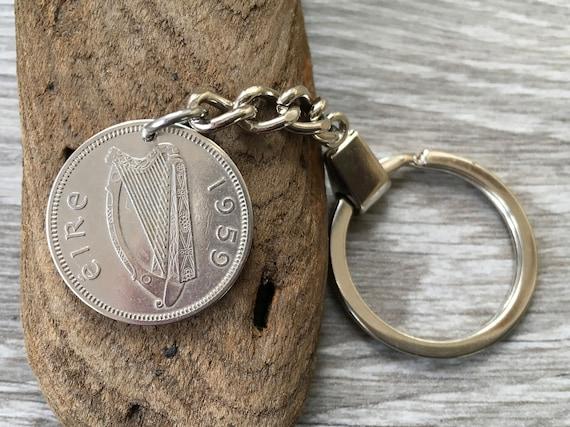 1959 Irish coin keychain, Ireland keyring, taurus Bull coin clip, 60th birthday or anniversary gift