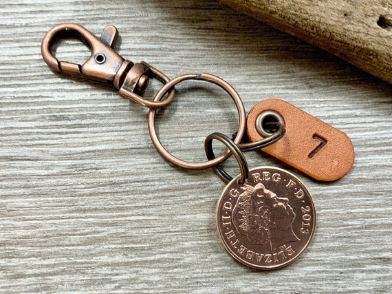 7th anniversary gift, copper wedding anniversary, seven 7 years married 2013 coin keyring or clip, present for a man or woman