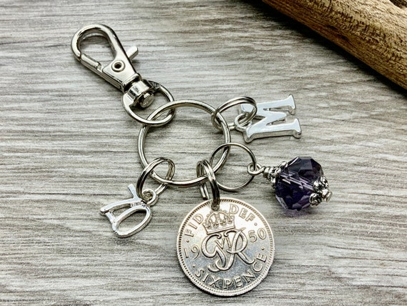 70th birthday birthstone gift, 1950 sixpence charm, keyring or bag clip, choose initial and birthstone colour