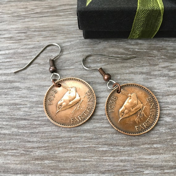 1937 or 1938 wren farthing earrings, a perfect 81st or 82nd birthday gift, British bird coin, UK English present for a woman, mum grandma