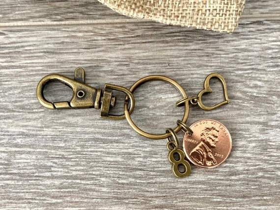 8th anniversary gift 2013 USA one cent coin keyring, United States lucky penny keychain, bronze eighth wedding anniversary