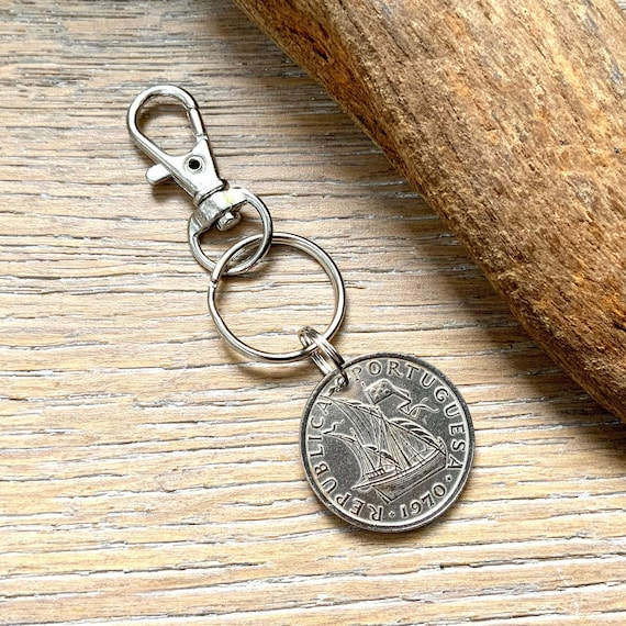 1968, 1969, 1970 Portuguese coin keyring, Portugal keychain, 5 Escudo key fob, 50th birthday gift or anniversary present for a man or woman