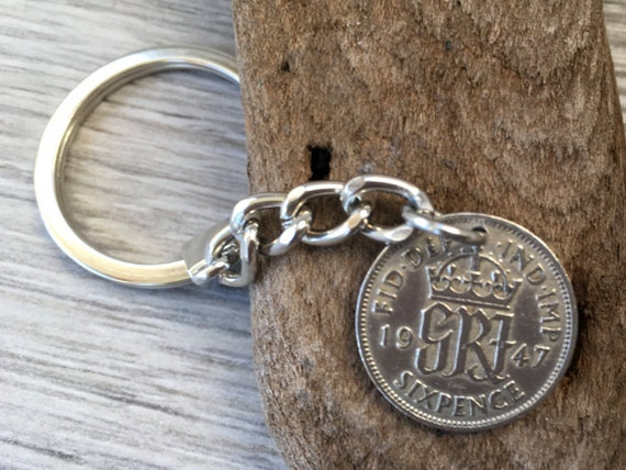 1947 sixpence keychain, lucky keyring clip, bag or purse charm, 73rd birthday gift, or good luck present for a man or woman, British,
