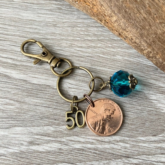 Lucky 1970 or 1971 penny clip, 50th birthday gift, USA coin keychain, American one cent keyring, anniversary  present for a woman
