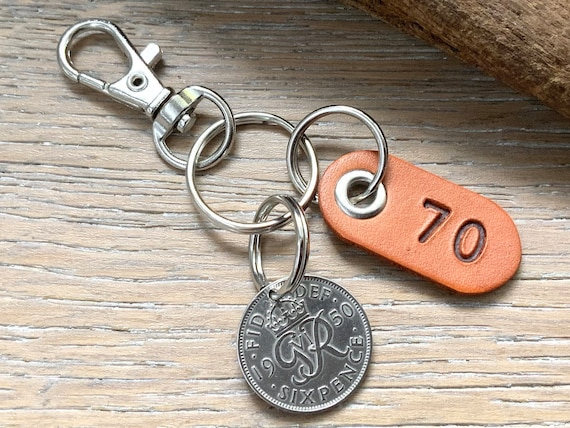 70th birthday gift 1950 Sixpence keychain, keyring or clip with a leather number seventy tag, small presents or a man or woman