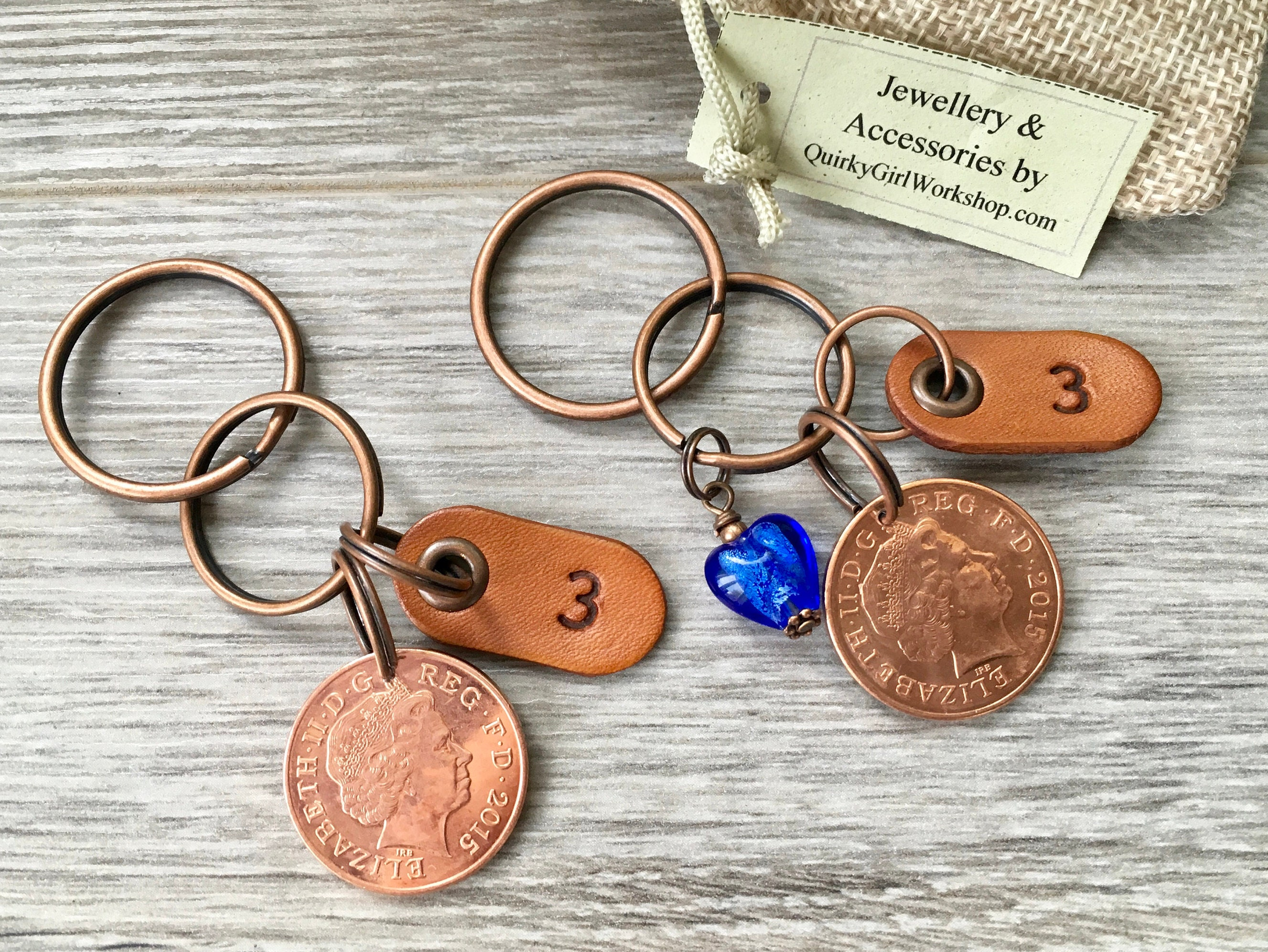 3rd anniversary gift two 2015 coin keyrings 2 leather keychains