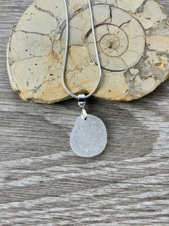 Natural sea glass pendant, Cornish beach glass pendant on a silver plated chain, mermaids tears