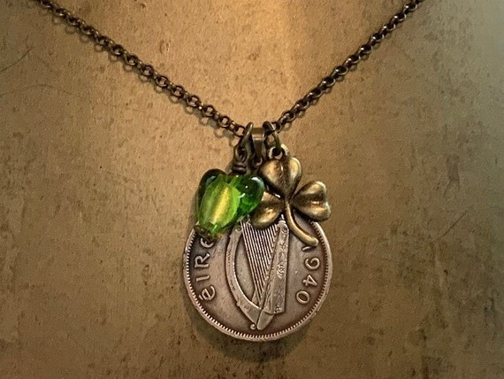 Irish coin and shamrock necklace 78th or 80th birthday gift, 1940 or 1942 Eire coin jewellery present for a woman