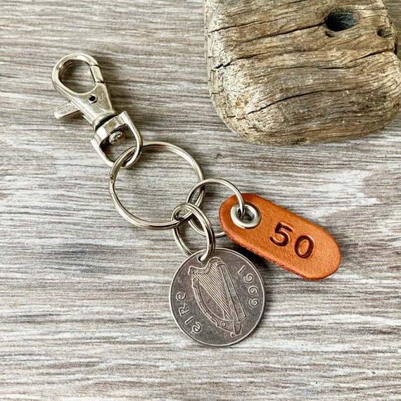 50th birthday gift, 1969 Irish Taurus coin keychain, keyring or clip, 50 years bag charm, anniversary present for a man or woman
