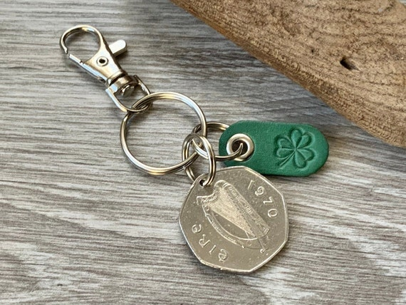 1970 Irish coin and shamrock keychain, keyring or clip, 7 sided coin Ireland, 51st anniversary or birthday present for a man or woman
