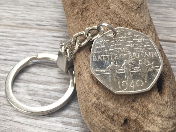 75 year since the Battle of Britain 50p 2015 commemorative coin keyring, spitfire keychain, keepsake, Word War II, gift for dad, grandad