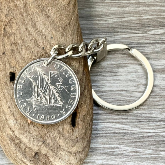 Portuguese ship coin keyring, key chain or clip, choose coin year Portugal 5 Escudo key fob, for a perfect birthday or anniversary gift