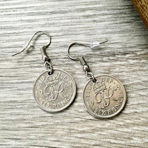1949 British sixpence earrings, pretty English coin Jewellery, 70th birthday gift, retirement present woman, Sterling silver