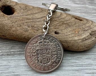 1962 New Zealand half crown coin keychain