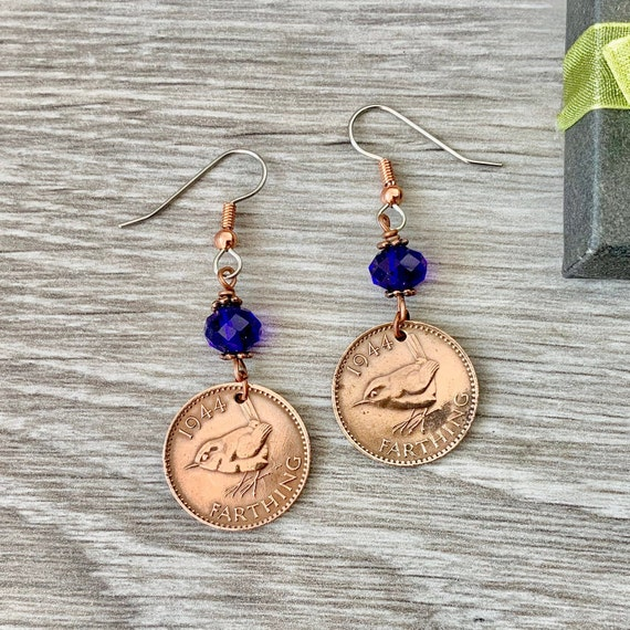 Wren Farthing earrings, choose coin year and stone colour for a perfect birthday gift, British pretty bird coin, stainless steel ear hooks