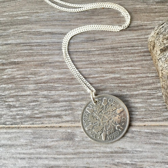 1932 or 1933 sixpence necklace, choose coin year, sterling silver chain, a perfect 87th or 88th birthday gift