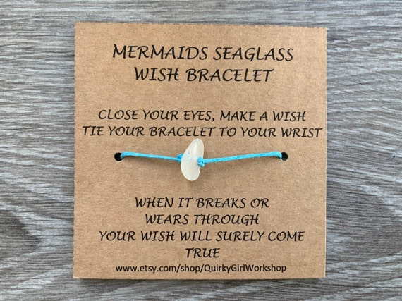 Sea glass wish bracelet, beach glass wish bracelet or  anklet, gift for girl teen mermaids tears