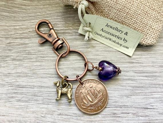 70th birthday gift, 1949 british coin keyring or charm clip, UK half penny, choose charm